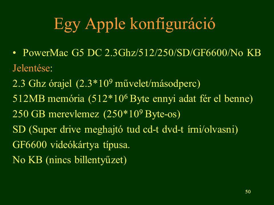 50 Egy Apple konfiguráció PowerMac G5 DC 2.3Ghz/512/250/SD/GF6600/No KB Jelentése: 2.3 Ghz órajel (2.3*10 9 művelet/másodperc) 512MB memória (512*10 6 Byte ennyi adat fér el benne) 250 GB merevlemez (250*10 9 Byte-os) SD (Super drive meghajtó tud cd-t dvd-t írni/olvasni) GF6600 videókártya típusa.