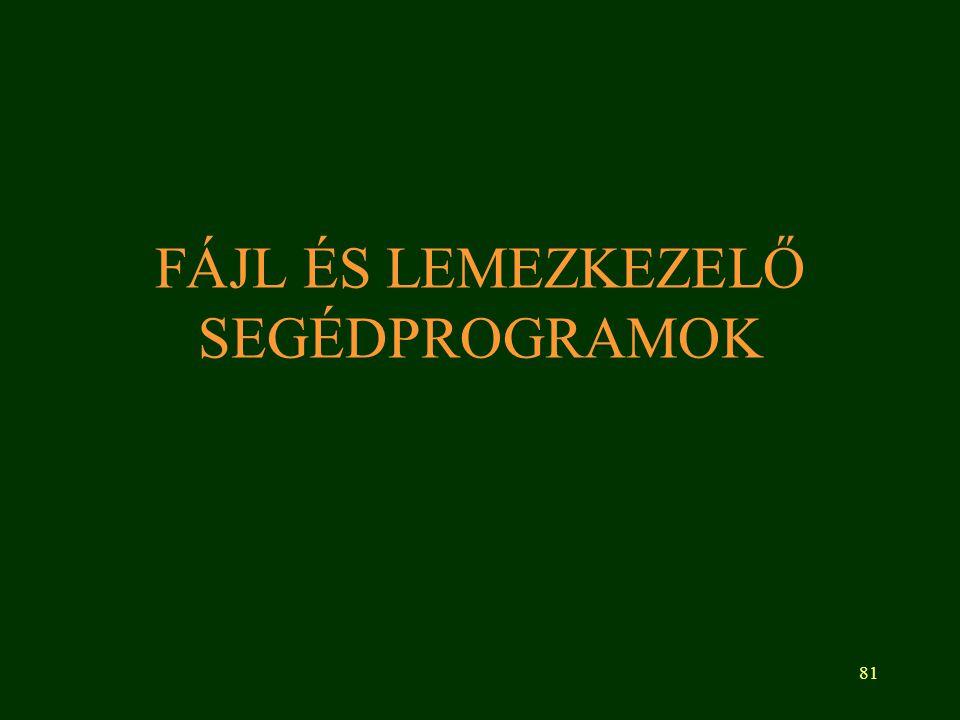 81 FÁJL ÉS LEMEZKEZELŐ SEGÉDPROGRAMOK