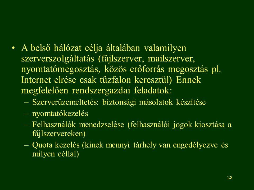 29 Hozzáférési jogok A rendszergazda feladata ezek kiosztása: –Ki, mikor mennyit nyomtathat (pl.