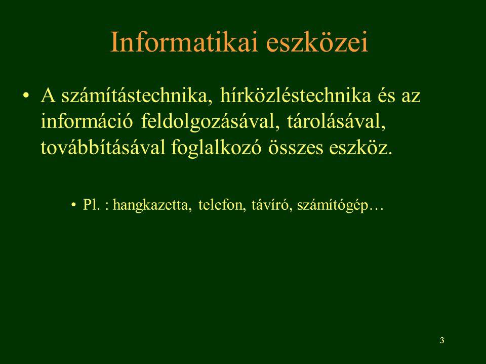 3 Informatikai eszközei A számítástechnika, hírközléstechnika és az információ feldolgozásával, tárolásával, továbbításával foglalkozó összes eszköz.