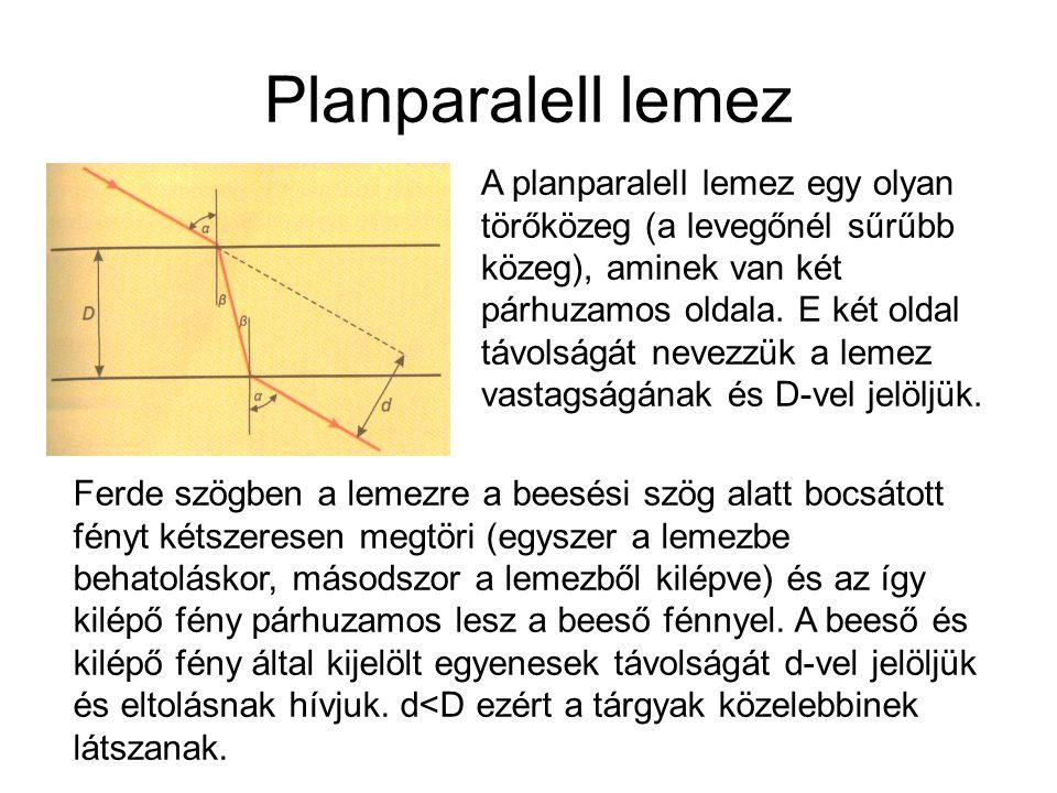 Planparalell lemez A planparalell lemez egy olyan törőközeg (a levegőnél sűrűbb közeg), aminek van két párhuzamos oldala. E két oldal távolságát nevez