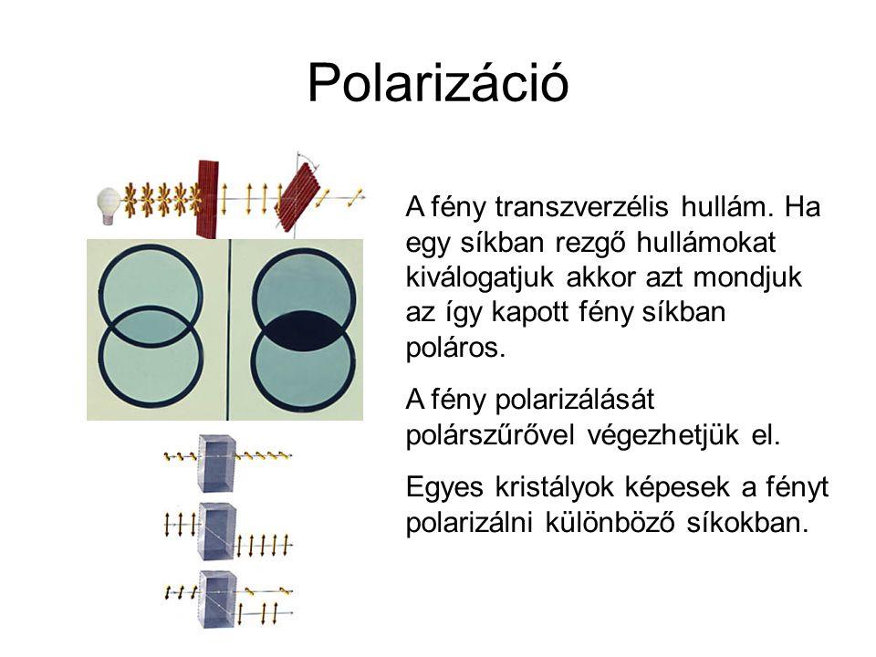 Polarizáció A fény transzverzélis hullám. Ha egy síkban rezgő hullámokat kiválogatjuk akkor azt mondjuk az így kapott fény síkban poláros. A fény pola
