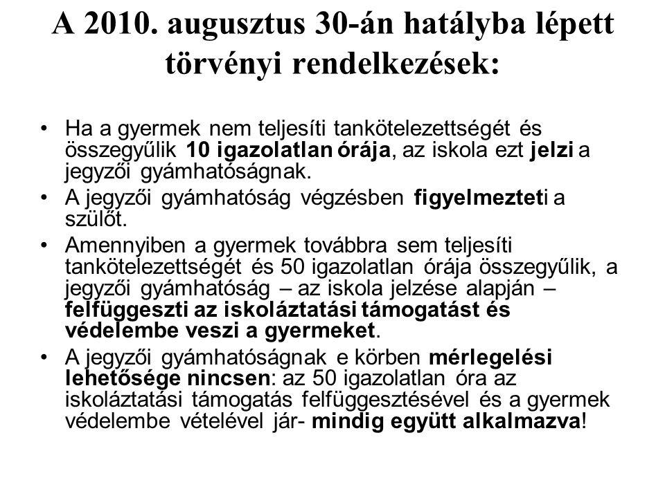 A 2010. augusztus 30-án hatályba lépett törvényi rendelkezések: Ha a gyermek nem teljesíti tankötelezettségét és összegyűlik 10 igazolatlan órája, az