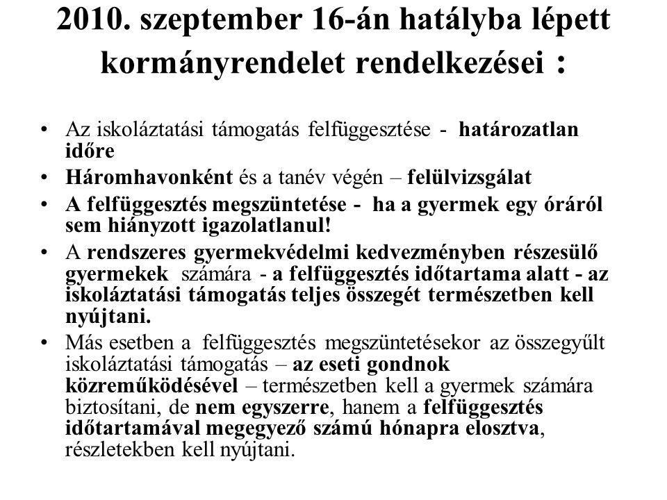 2010. szeptember 16-án hatályba lépett kormányrendelet rendelkezései : Az iskoláztatási támogatás felfüggesztése - határozatlan időre Háromhavonként é