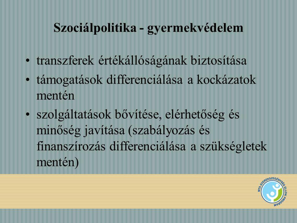 Szociálpolitika - gyermekvédelem transzferek értékállóságának biztosítása támogatások differenciálása a kockázatok mentén szolgáltatások bővítése, elérhetőség és minőség javítása (szabályozás és finanszírozás differenciálása a szükségletek mentén)