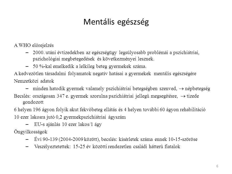 Mentális egészség A WHO előrejelzés – 2000. utáni évtizedekben az egészségügy legsúlyosabb problémái a pszichiátriai, pszichológiai megbetegedések és