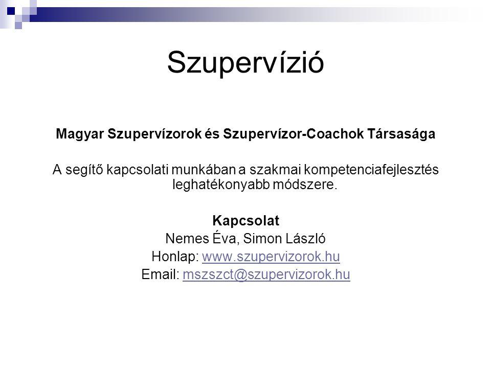 Szupervízió Magyar Szupervízorok és Szupervízor-Coachok Társasága A segítő kapcsolati munkában a szakmai kompetenciafejlesztés leghatékonyabb módszere