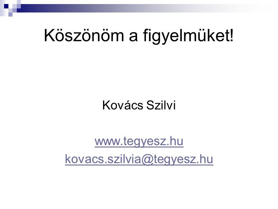 Köszönöm a figyelmüket! Kovács Szilvi www.tegyesz.hu kovacs.szilvia@tegyesz.hu