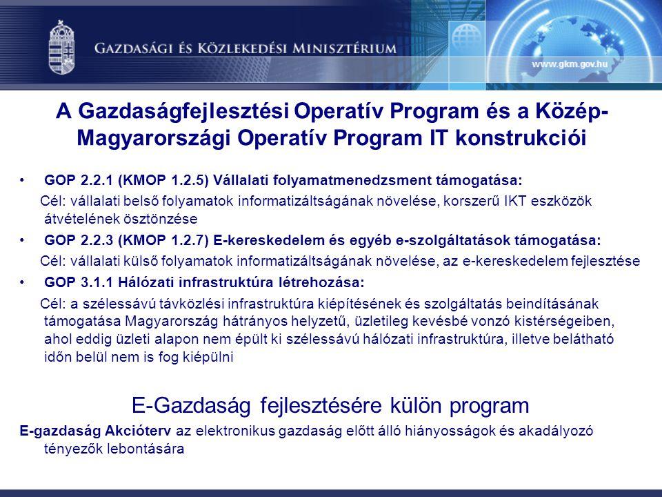 GOP 2.2.1 (KMOP 1.2.5) Vállalati folyamatmenedzsment támogatása: Cél: vállalati belső folyamatok informatizáltságának növelése, korszerű IKT eszközök átvételének ösztönzése GOP 2.2.3 (KMOP 1.2.7) E-kereskedelem és egyéb e-szolgáltatások támogatása: Cél: vállalati külső folyamatok informatizáltságának növelése, az e-kereskedelem fejlesztése GOP 3.1.1 Hálózati infrastruktúra létrehozása: Cél: a szélessávú távközlési infrastruktúra kiépítésének és szolgáltatás beindításának támogatása Magyarország hátrányos helyzetű, üzletileg kevésbé vonzó kistérségeiben, ahol eddig üzleti alapon nem épült ki szélessávú hálózati infrastruktúra, illetve belátható időn belül nem is fog kiépülni E-Gazdaság fejlesztésére külön program E-gazdaság Akcióterv az elektronikus gazdaság előtt álló hiányosságok és akadályozó tényezők lebontására A Gazdaságfejlesztési Operatív Program és a Közép- Magyarországi Operatív Program IT konstrukciói