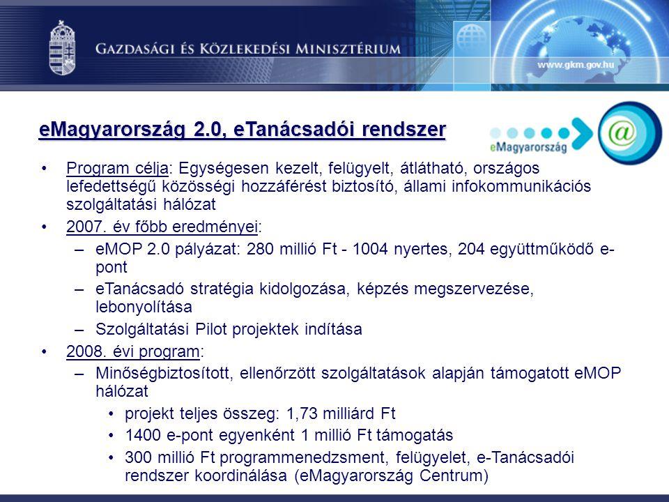 eMagyarország 2.0, eTanácsadói rendszer Program célja: Egységesen kezelt, felügyelt, átlátható, országos lefedettségű közösségi hozzáférést biztosító,
