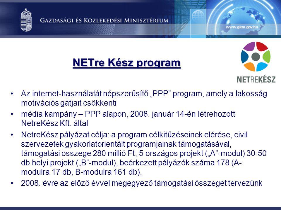 """NETre Kész program Az internet-használatát népszerűsítő """"PPP"""" program, amely a lakosság motivációs gátjait csökkenti média kampány – PPP alapon, 2008."""