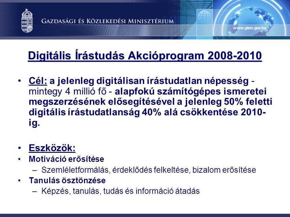Cél: a jelenleg digitálisan írástudatlan népesség - mintegy 4 millió fő - alapfokú számítógépes ismeretei megszerzésének elősegítésével a jelenleg 50%