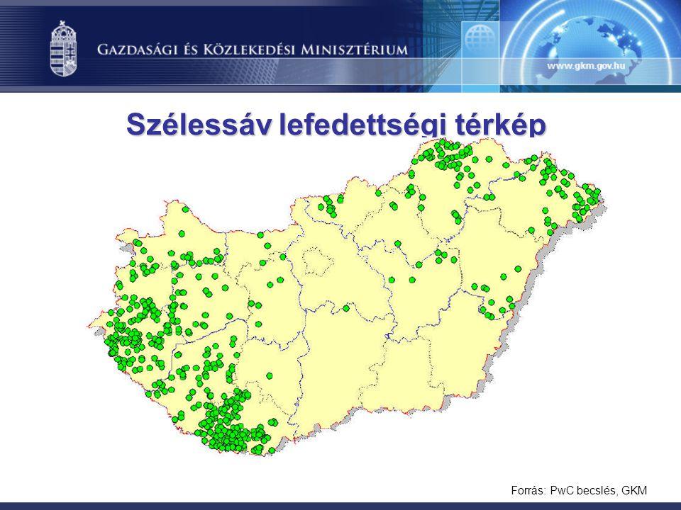 Forrás: PwC becslés, GKM Szélessáv lefedettségi térkép