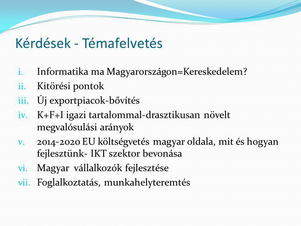 Kérdések - Témafelvetés i. Informatika ma Magyarországon=Kereskedelem.