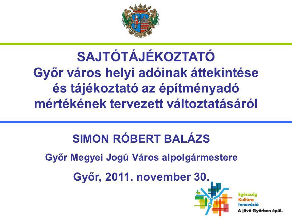SAJTÓTÁJÉKOZTATÓ Győr város helyi adóinak áttekintése és tájékoztató az építményadó mértékének tervezett változtatásáról SIMON RÓBERT BALÁZS Győr Megyei Jogú Város alpolgármestere Győr, 2011.