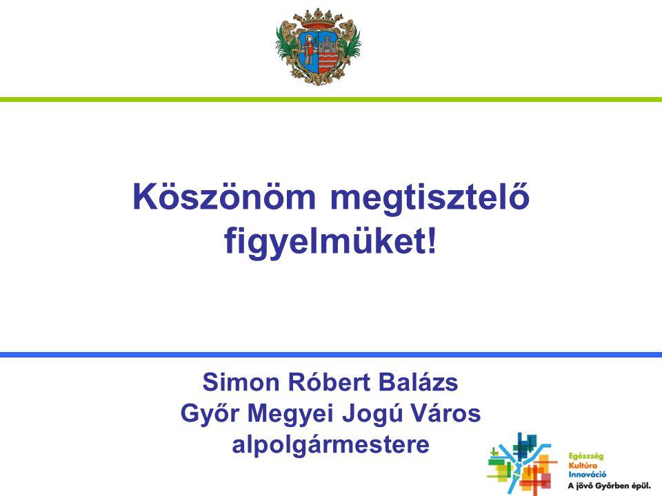 Köszönöm megtisztelő figyelmüket! Simon Róbert Balázs Győr Megyei Jogú Város alpolgármestere