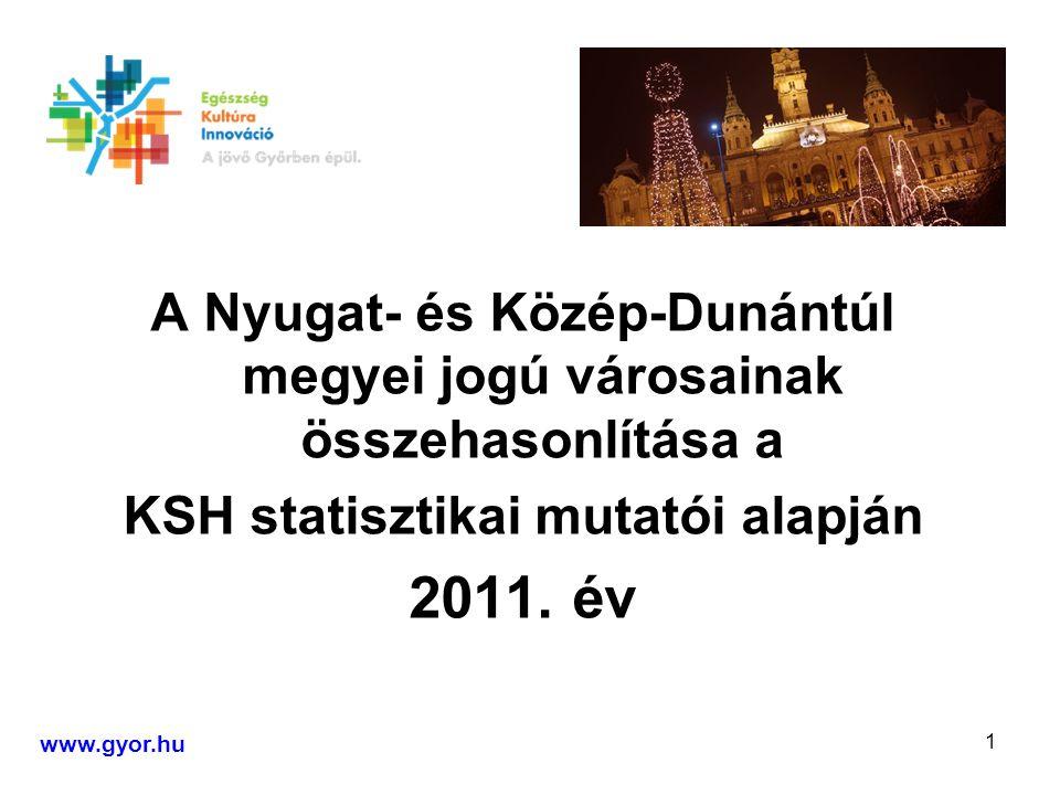2 FORRÁS A Központi Statisztikai Hivatal Nyugat- Dunántúl és Közép-Dunántúl megyei statisztikai évkönyvei 2011.