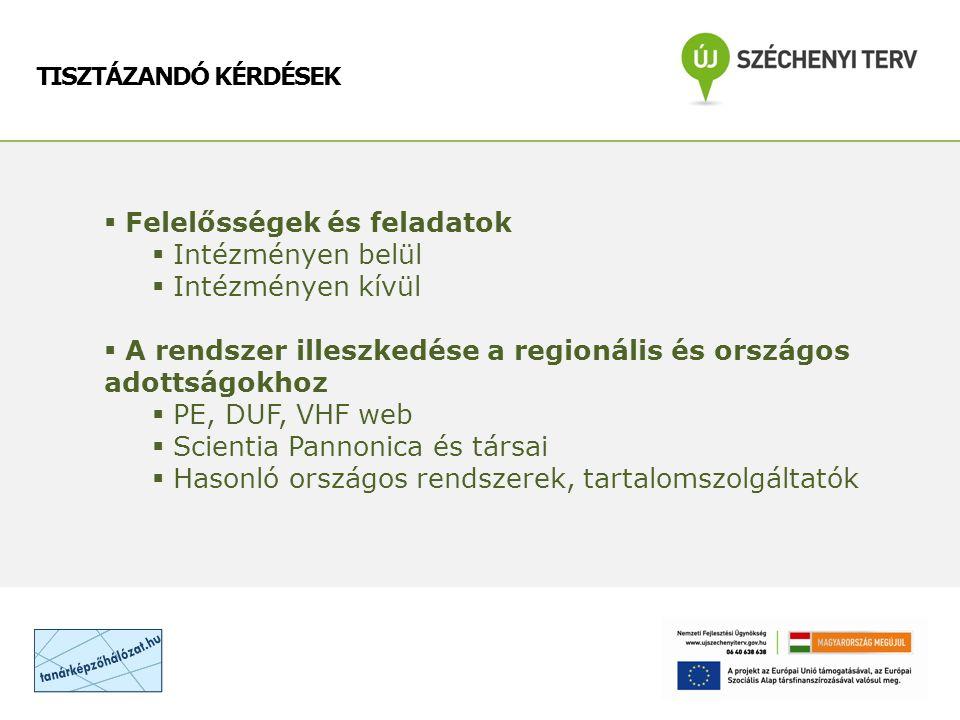 TISZTÁZANDÓ KÉRDÉSEK  Felelősségek és feladatok  Intézményen belül  Intézményen kívül  A rendszer illeszkedése a regionális és országos adottságokhoz  PE, DUF, VHF web  Scientia Pannonica és társai  Hasonló országos rendszerek, tartalomszolgáltatók