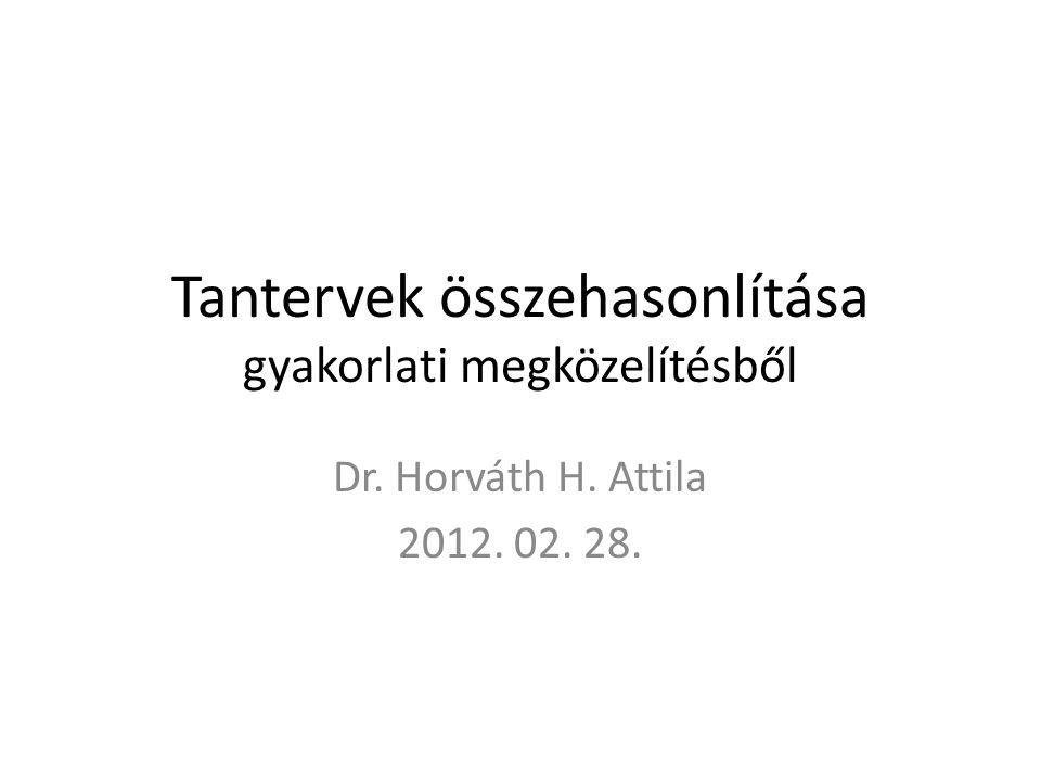 Tantervek összehasonlítása gyakorlati megközelítésből Dr. Horváth H. Attila 2012. 02. 28.