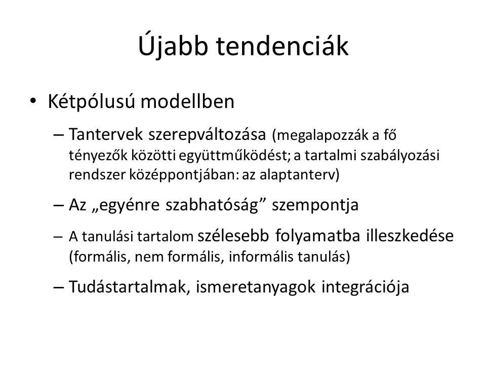 """Újabb tendenciák Kétpólusú modellben – Tantervek szerepváltozása (megalapozzák a fő tényezők közötti együttműködést; a tartalmi szabályozási rendszer középpontjában: az alaptanterv) – Az """"egyénre szabhatóság szempontja – A tanulási tartalom szélesebb folyamatba illeszkedése (formális, nem formális, informális tanulás) – Tudástartalmak, ismeretanyagok integrációja"""