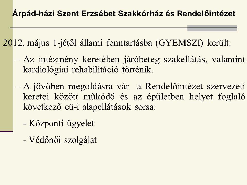 2012.május 1-jétől állami fenntartásba (GYEMSZI) került.
