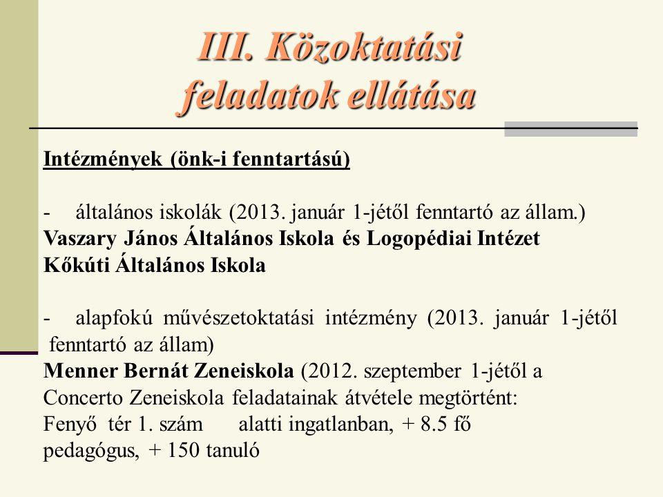 III.Közoktatási feladatok ellátása Intézmények (önk-i fenntartású) - általános iskolák (2013.