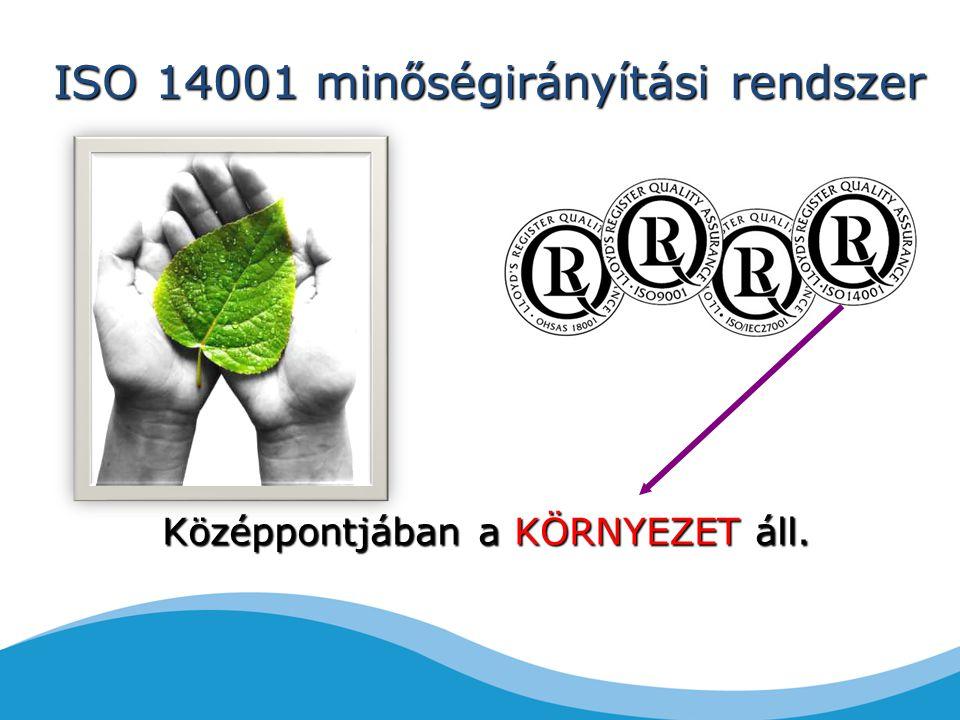 ISO 14001 minőségirányítási rendszer Középpontjában a KÖRNYEZET áll.