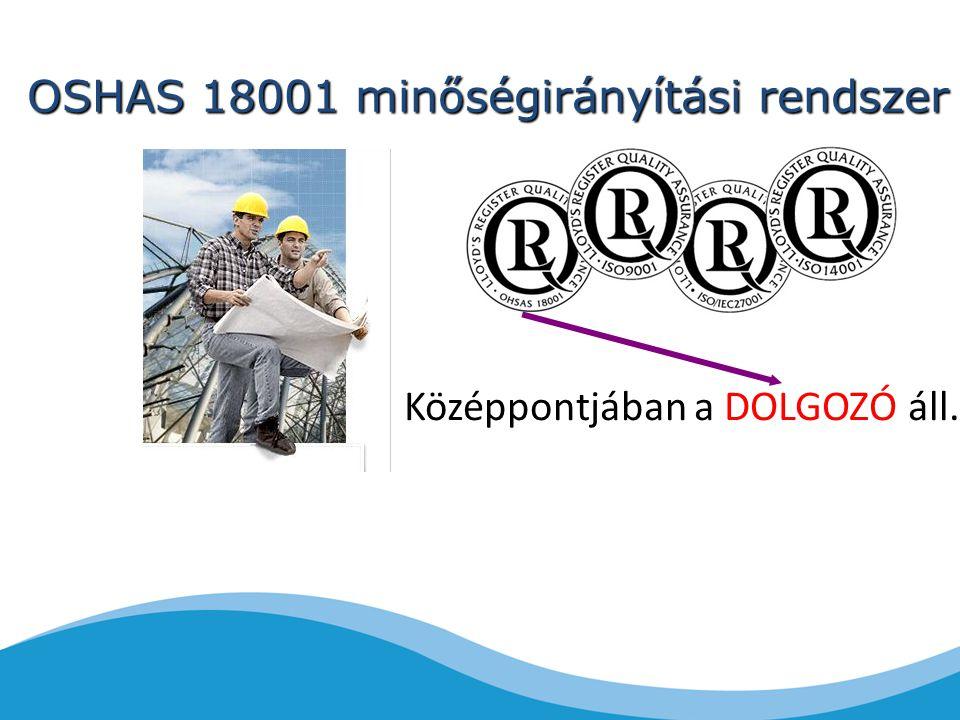 OSHAS 18001 minőségirányítási rendszer Középpontjában a DOLGOZÓ áll.