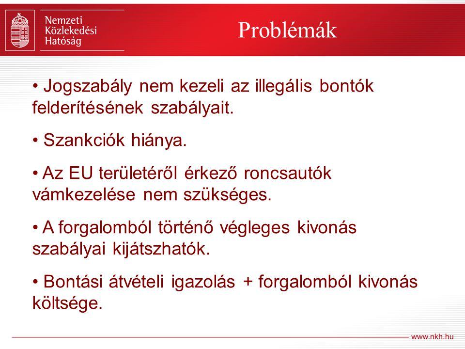 Problémák Jogszabály nem kezeli az illegális bontók felderítésének szabályait. Szankciók hiánya. Az EU területéről érkező roncsautók vámkezelése nem s