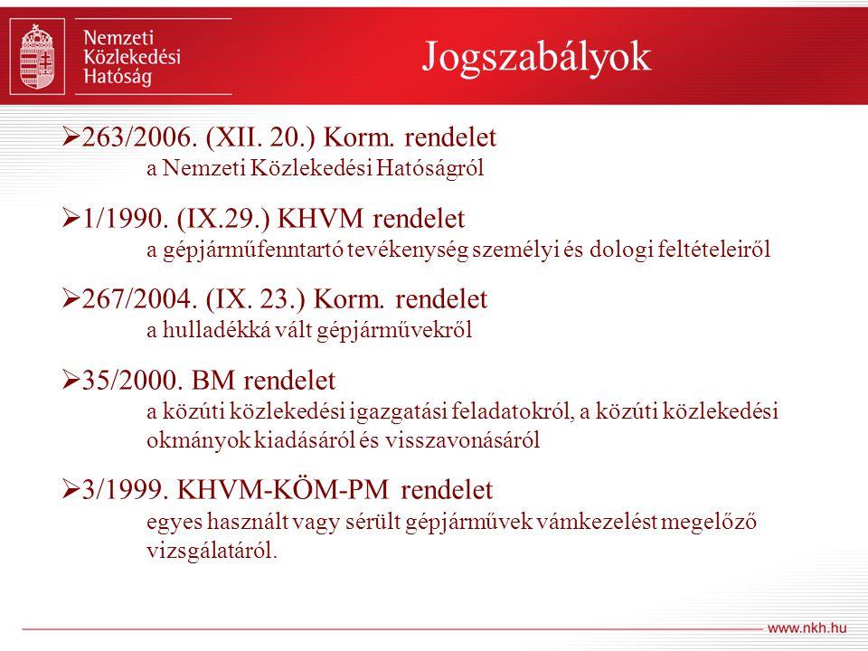 Jogszabályok  263/2006. (XII. 20.) Korm. rendelet a Nemzeti Közlekedési Hatóságról  1/1990. (IX.29.) KHVM rendelet a gépjárműfenntartó tevékenység s
