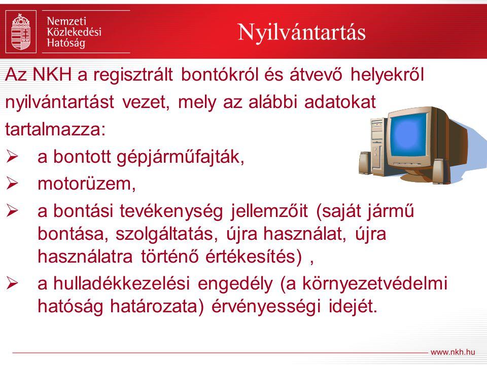 Ellenőrzés Az 1/1990 KHVM rendeletben foglaltak megtartását – a nyilvántartásba vételt megelőzően, a bejelentést követő egy hónapon belül, valamint évente legalább egy alkalommal (személyi és tárgyi feltételek megléte, valamint az ügyrend betartása) az NKH területileg illetékes regionális igazgatósága, a 267/2004.