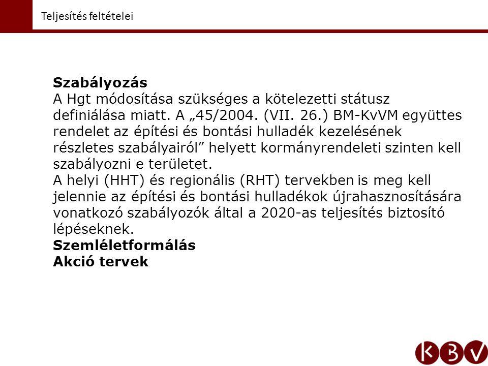 """Teljesítés feltételei Szabályozás A Hgt módosítása szükséges a kötelezetti státusz definiálása miatt. A """"45/2004. (VII. 26.) BM-KvVM együttes rendelet"""