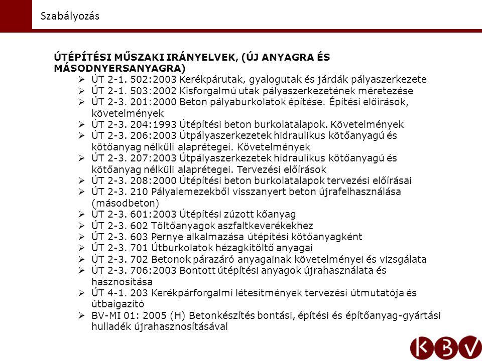Szabályozás ÚTÉPÍTÉSI SZABVÁNYOK  MSZ 4702/2: 1997 Portlandcementek.