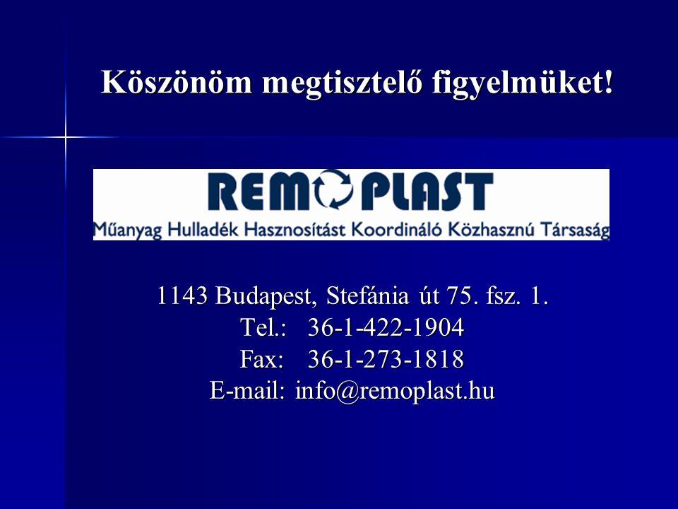 1143 Budapest, Stefánia út 75. fsz. 1. Tel.:36-1-422-1904 Fax:36-1-273-1818 E-mail: info@remoplast.hu Köszönöm megtisztelő figyelmüket!