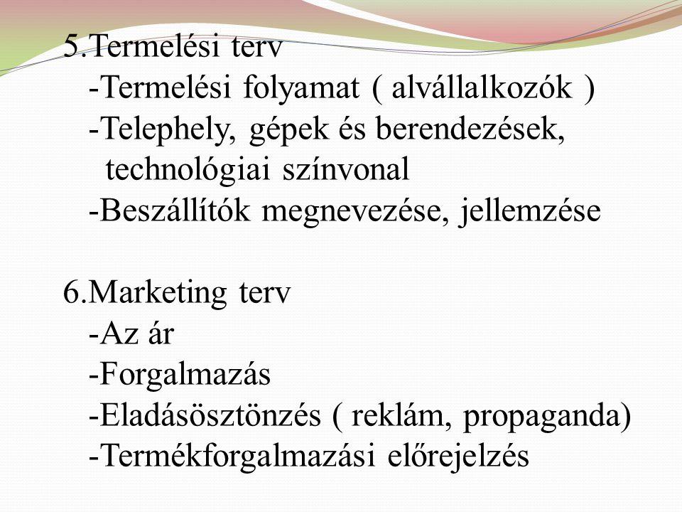 3.Iparágelemzés -Trendek és kilátások -A versenytársak elemzése -A célpiac behatárolása ( szegmentálás ) 4.A vállalkozás bemutatása -Termék(ek) -Szolg