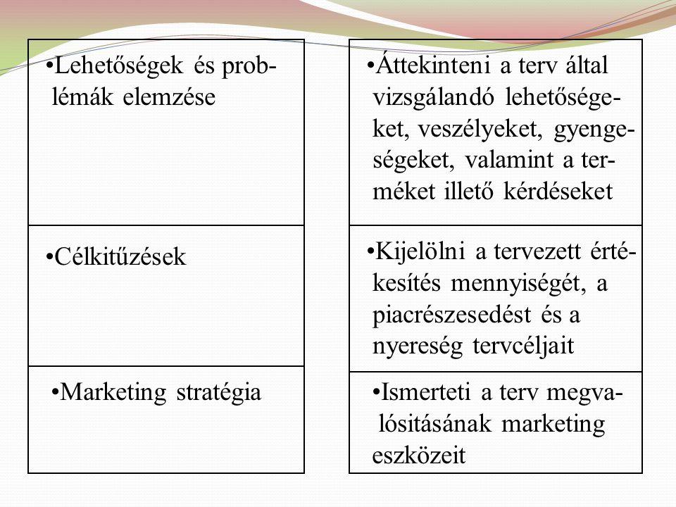 Vezetői összegzés Marketing helyzetkép Tömören tájékoztat a javasolt tervről Bemutatja a piacot, a termékeket, a versenyt az értékesítést és a makrokö