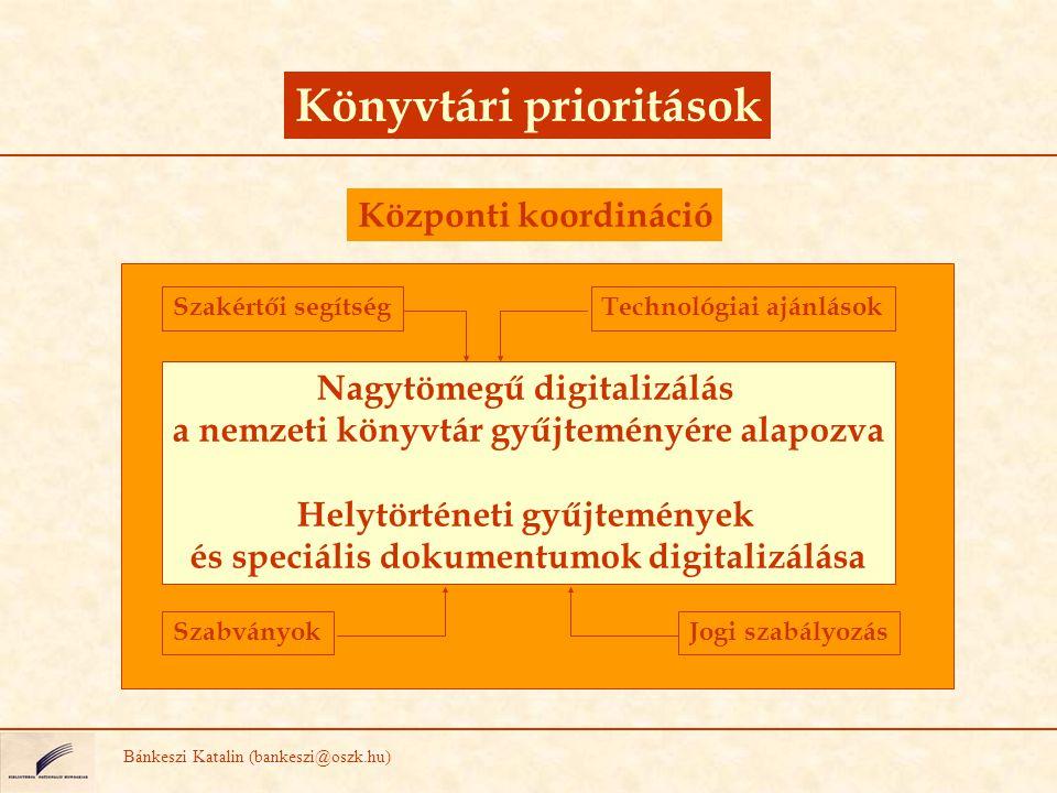 Könyvtári prioritások Bánkeszi Katalin (bankeszi@oszk.hu) Nagytömegű digitalizálás a nemzeti könyvtár gyűjteményére alapozva Helytörténeti gyűjteménye