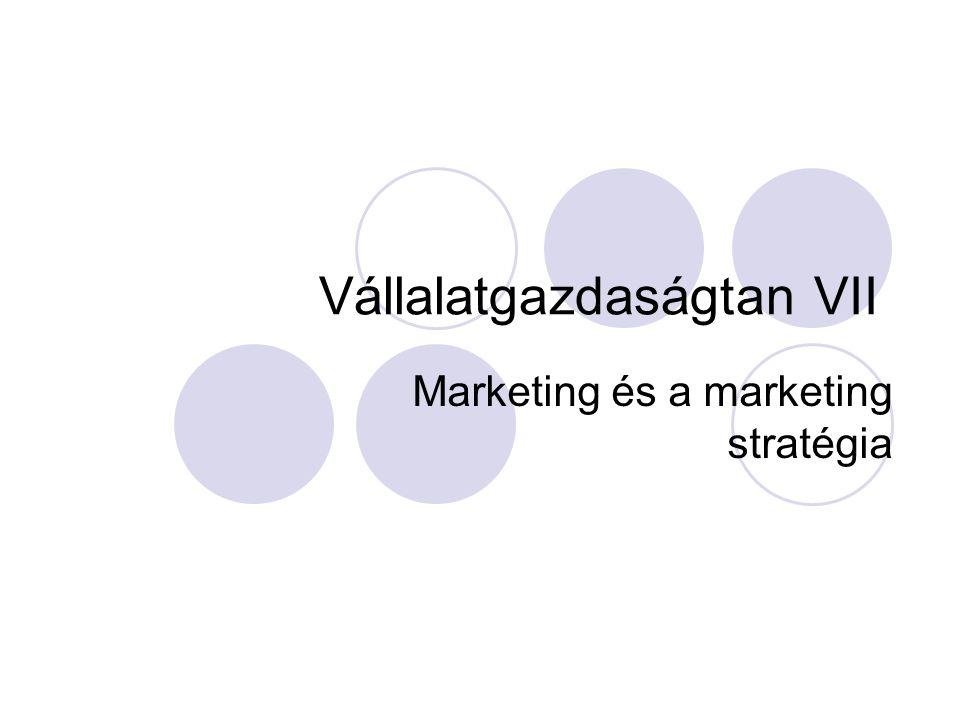 Vállalatgazdaságtan VII Marketing és a marketing stratégia