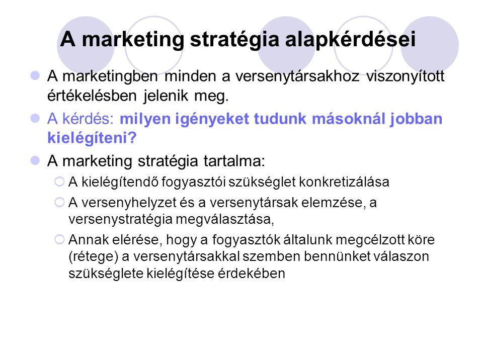 A marketing stratégia alapkérdései A marketingben minden a versenytársakhoz viszonyított értékelésben jelenik meg.