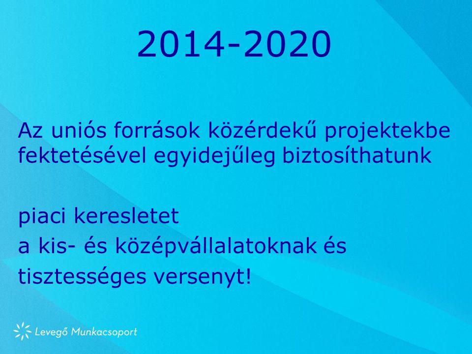 2014-2020 Az uniós források közérdekű projektekbe fektetésével egyidejűleg biztosíthatunk piaci keresletet a kis- és középvállalatoknak és tisztessége