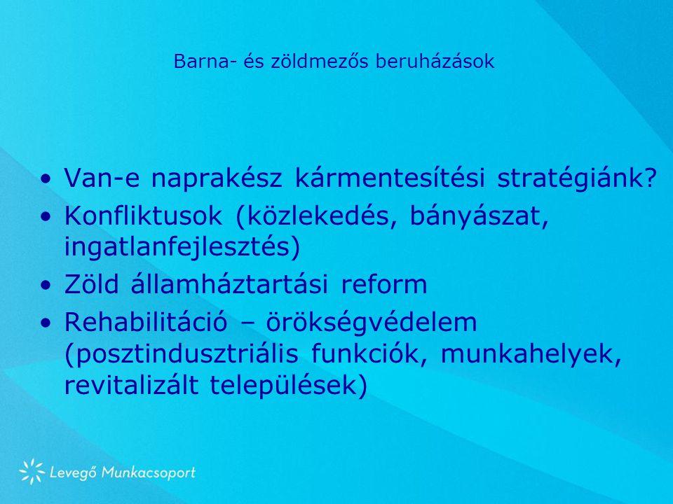 Barna- és zöldmezős beruházások Van-e naprakész kármentesítési stratégiánk? Konfliktusok (közlekedés, bányászat, ingatlanfejlesztés) Zöld államháztart