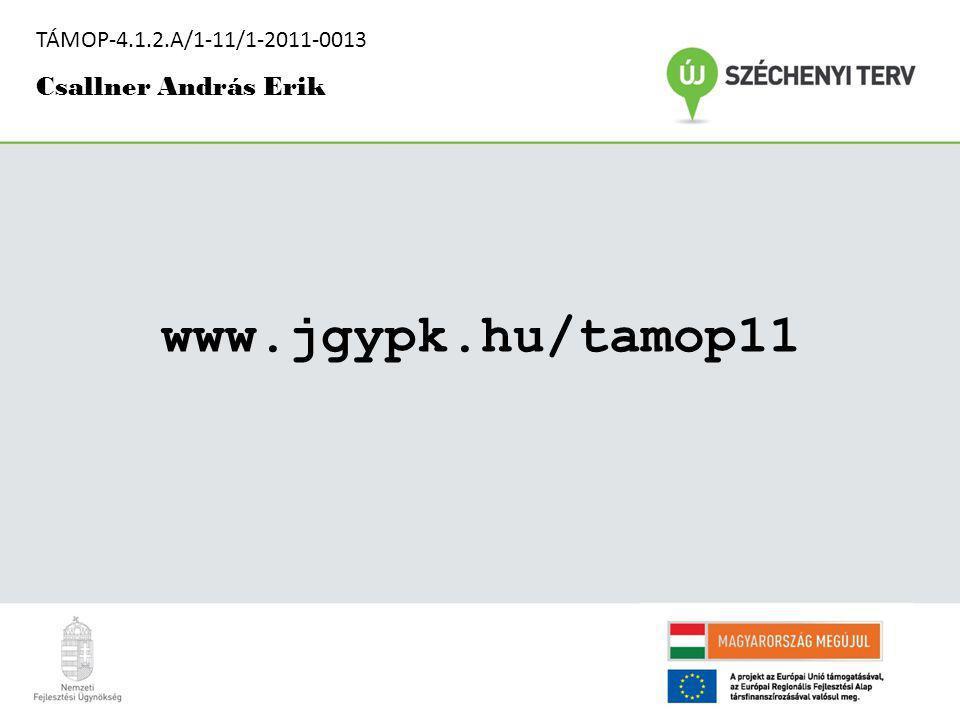 www.jgypk.hu/tamop11 TÁMOP-4.1.2.A/1-11/1-2011-0013 Csallner András Erik