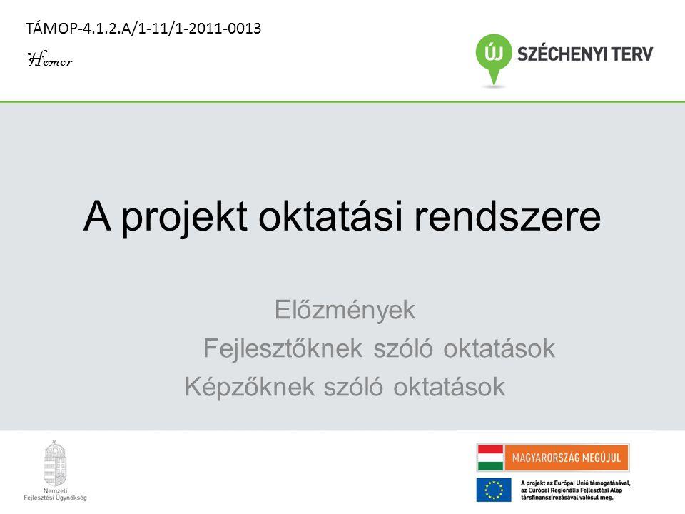 A projekt oktatási rendszere Előzmények Fejlesztőknek szóló oktatások Képzőknek szóló oktatások TÁMOP-4.1.2.A/1-11/1-2011-0013 Homor