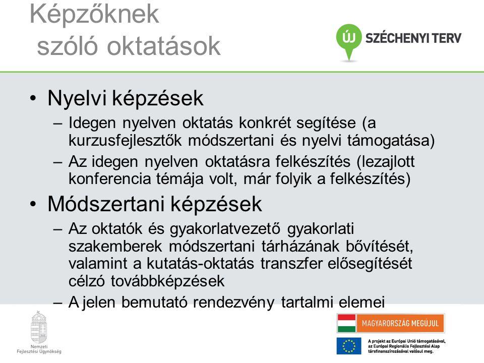 Képzőknek szóló oktatások Nyelvi képzések –Idegen nyelven oktatás konkrét segítése (a kurzusfejlesztők módszertani és nyelvi támogatása) –Az idegen ny