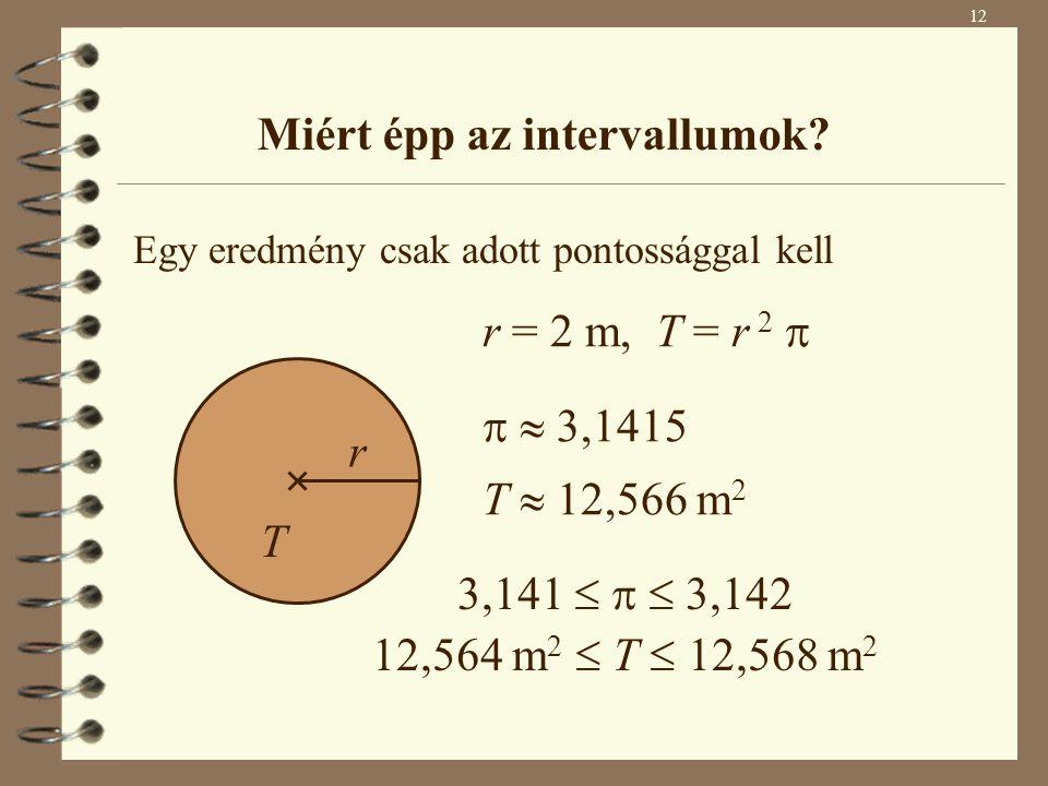Egy eredmény csak adott pontossággal kell r = 2 m, T = r 2    3,1415 T  12,566 m 2 3,141    3,142 12,564 m 2  T  12,568 m 2 r T Miért épp az