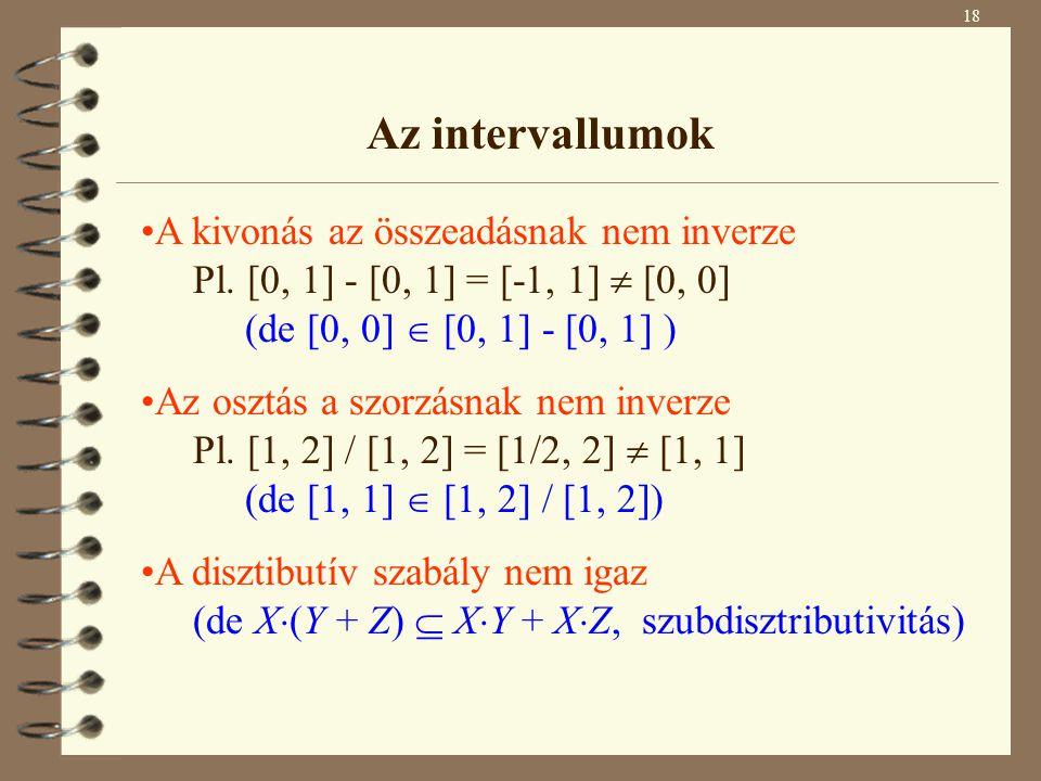 A kivonás az összeadásnak nem inverze Pl. [0, 1] - [0, 1] = [-1, 1]  [0, 0] (de [0, 0]  [0, 1] - [0, 1] ) Az osztás a szorzásnak nem inverze Pl. [1,