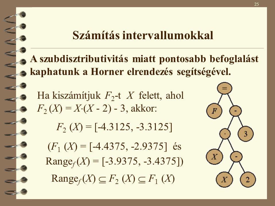 Ha kiszámítjuk F 2 -t X felett, ahol F 2 (X) = X  (X - 2) - 3, akkor: F 2 (X) = [-4.3125, -3.3125] (F 1 (X) = [-4.4375, -2.9375] és Range f (X) = [-3.9375, -3.4375]) Range f (X)  F 2 (X)  F 1 (X) A szubdisztributivitás miatt pontosabb befoglalást kaphatunk a Horner elrendezés segítségével.