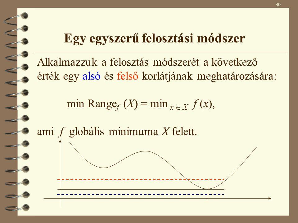 Egy egyszerű felosztási módszer Alkalmazzuk a felosztás módszerét a következő érték egy alsó és felső korlátjának meghatározására: min Range f (X) = m
