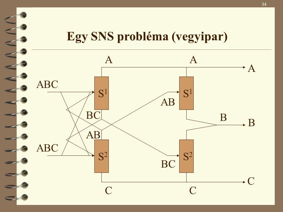 S2 S2 S1 S1 S2 S2 S1 S1 ABC A C BC AB BC AB A C B A B C 34 Egy SNS probléma (vegyipar)
