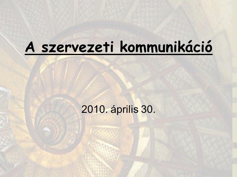 A szervezeti kommunikáció 2010. április 30.